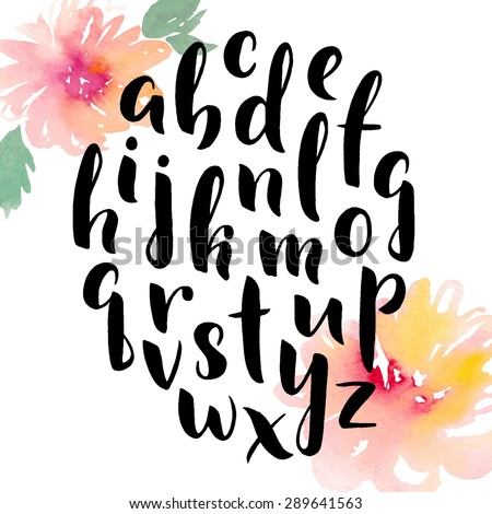 Hand drawn alphabet. Ink hand lettering. Modern calligraphy. Hand painted abstract watercolor flowers. - stock vector