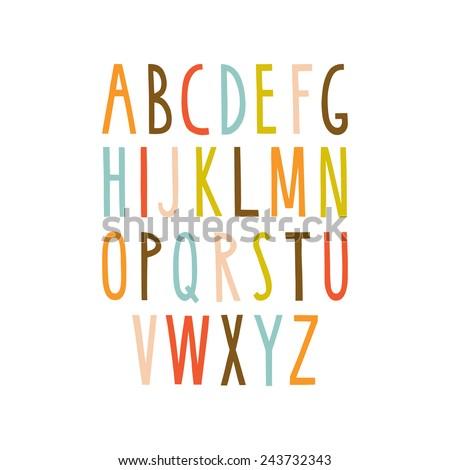 Hand drawn alphabet. Sans-serif elegant light font. Vector illustration. - stock vector