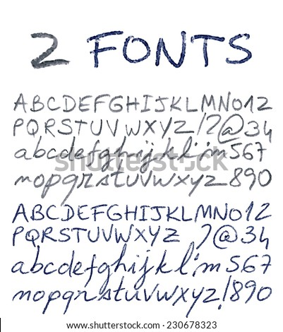 Hand drawn alphabet set. Pencil and pen texture handwriting font. Vector illustration. - stock vector