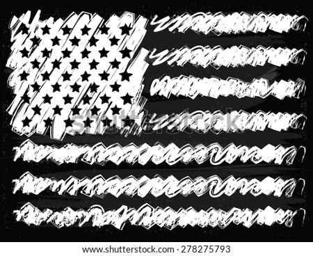 Hand Drawn American Flag on Chalkboard Background - stock vector