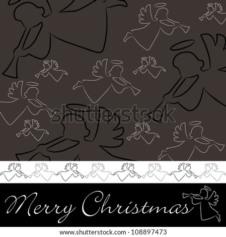 """Hand drawn angel """"Merry Christmas"""" card in vector format. - stock vector"""
