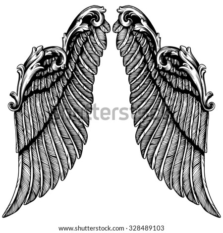 Hand drawn angel wings | illustration of a pair of angel or eagle wings spread |   tattoo, tattoo art - stock vector