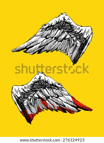 Hand drawn angel wings vector illustration - stock vector