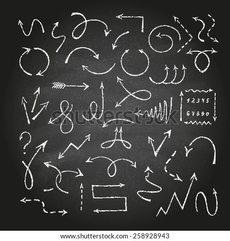 Hand drawn arrow set made of chalk texture. Vector illustration. - stock vector