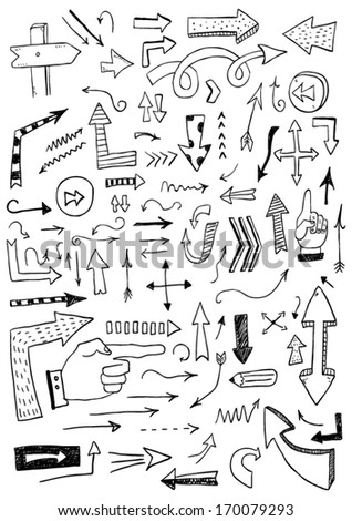 Hand drawn arrows - stock vector