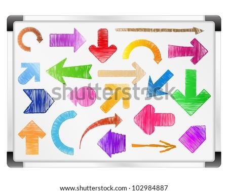 Hand drawn arrows on whiteboard, vector eps10 illustration - stock vector