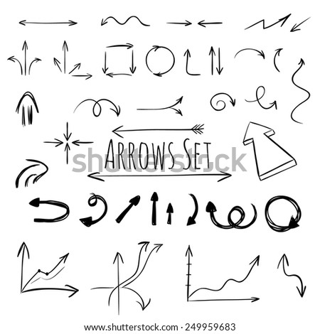 Hand drawn arrows set, vector - stock vector