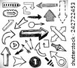 Hand drawn arrows set. Vector signs of direction. Design elements group of business infographics, diagrams, plans, sketches drawn by hand. - stock vector