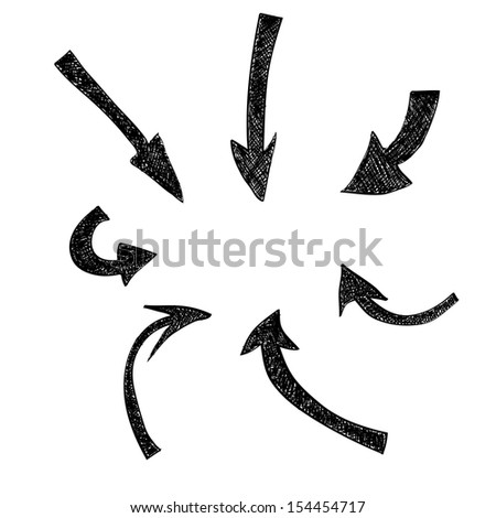 Hand-drawn arrows. Vector illustration - stock vector