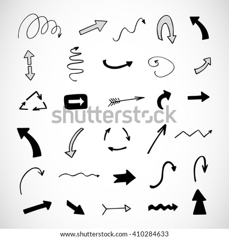 hand-drawn arrows, vector set  - stock vector