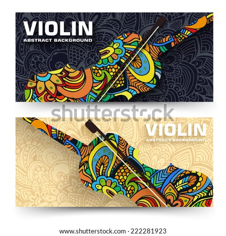 Hand drawn art abstract violin banners of the ornament. Vector illustration concept - stock vector