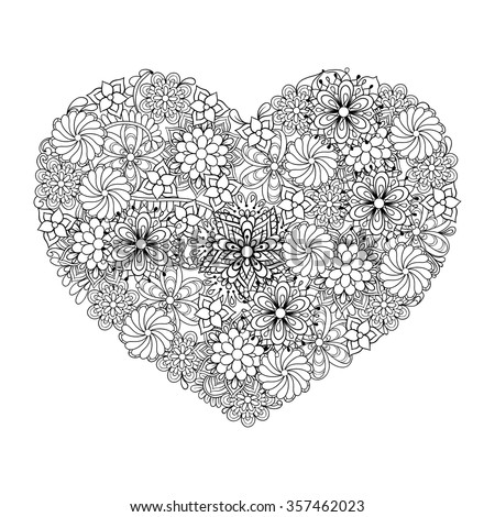 Hand drawn artistic ethnic ornamental patterned Big heart in doodle, zentangle tribal style for adult coloring book, pages, tattoo, t-shirt or prints. Vector illustration  - stock vector