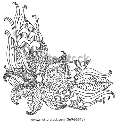 Hand drawn artistic ethnic ornamental patterned floral frame in doodle, zentangle style for adult coloring pages, tattoo, t-shirt or prints. Vector spring illustration. - stock vector