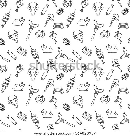 Hand drawn artistic meat seamless pattern for adult coloring pages in doodle style with sausages, stakes, shish kebabs, chickens, ethnic ornamental vector illustration for patterned t-shirt or prints. - stock vector