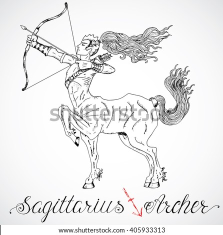 Hand drawn astrological zodiac sign Archer or Sagittarius. Line art vector illustration of engraved horoscope symbol of centaur. Fantasy style. Doodle drawing and sketch with calligraphic lettering - stock vector