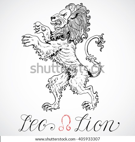 Hand drawn astrological zodiac sign Lion or Leo. Line art vector illustration of engraved horoscope symbol. Heraldic style. Doodle drawing and sketch with calligraphic lettering - stock vector