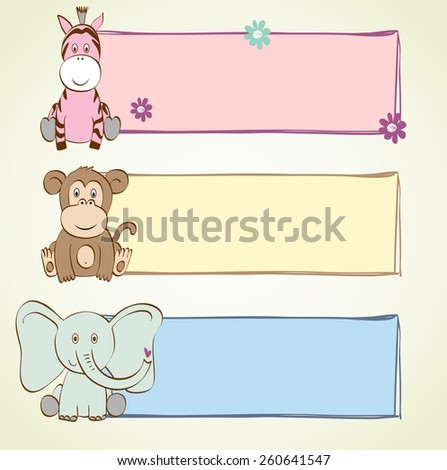 hand drawn baby banners with cartoon animals - stock vector