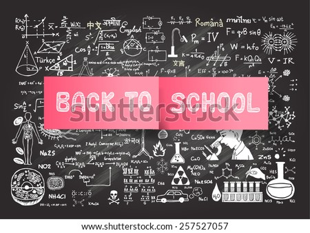 Hand drawn BACK TO SCHOOL on post it on chalkboard background. - stock vector