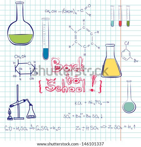 Hand drawn back to school sketch. Notebook doodles with chemical formulas, flasks and chemical reagents on squared notebook paper background. Hand drawn illustration. - stock vector