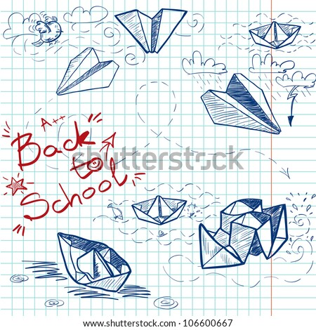 Hand drawn Back to School sketch on squared notebook paper. Notebook doodles with lettering, paper boats and paper planes. Vector Illustration. Background - stock vector