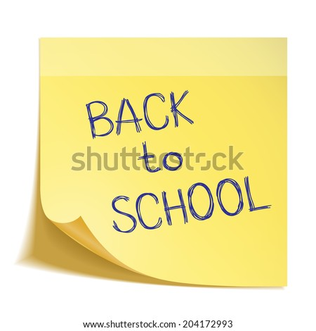 Hand drawn Back to School sketch on sticks note paper - stock vector