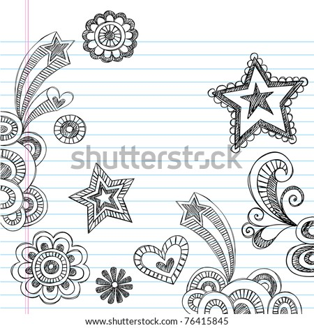 Hand-Drawn Back to School Sketchy Notebook Doodles Vector Illustration Design Elements on Lined Sketchbook Paper Background - stock vector