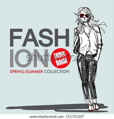 Hand drawn background with a pretty fashion girl in sketch style. Vector illustration. - stock vector