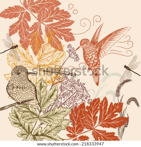 Hand drawn background with birds for design - stock vector
