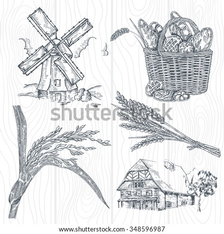Hand drawn bakery set. Illustration windmill, wheat, farm house in vintage style - stock vector