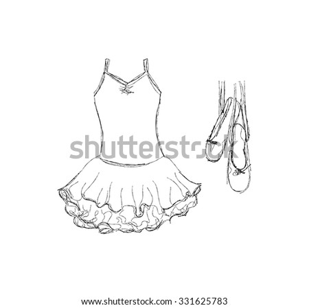 Hand drawn ballet tutu and shoes - stock vector