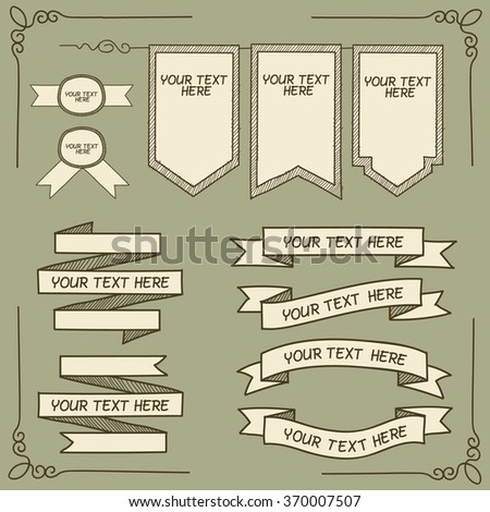 Hand drawn banner and tag icons with captions. Vector illustration. - stock vector