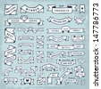 Hand drawn banners in crafty DIY style. Fun & cute banner shapes. Looks like a doodle sketch, but not too messy.  Room to put a custom text message. Neatly organized objects in groups and layers.Eps10 - stock vector