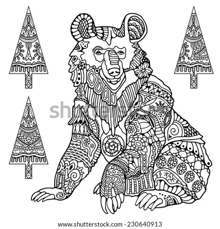 Hand drawn bear with set of christmas trees in graphic style, floral and geometric ornament, ethnic pattern, isolated elements for card design, black on white background - stock vector