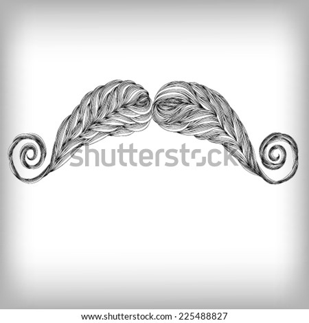 Hand Drawn Beard Mustache Illustration, Vector background - stock vector
