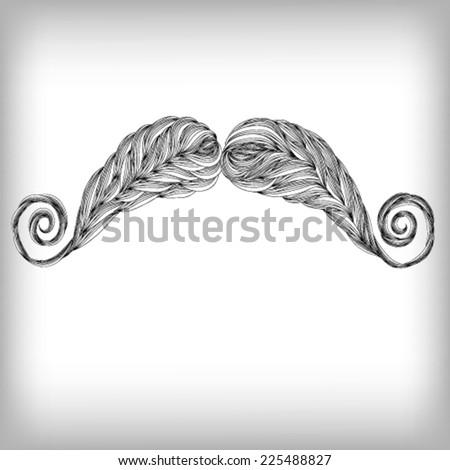 Hand Drawn Beard Mustache Illustration, Vector background - stock vector