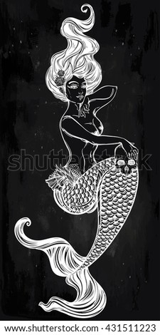 Hand drawn beautiful artwork of beautiful mermaid with human skull in her hands. Sea, fantasy, spirituality, mythology, tattoo art, coloring books. Isolated vector illustration. - stock vector