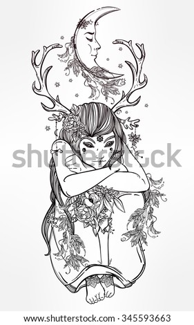 Hand drawn beautiful artwork of female fairy of the Nature. Alchemy, religion, spirituality, occultism, tattoo art, coloring books. Isolated vector illustration. - stock vector