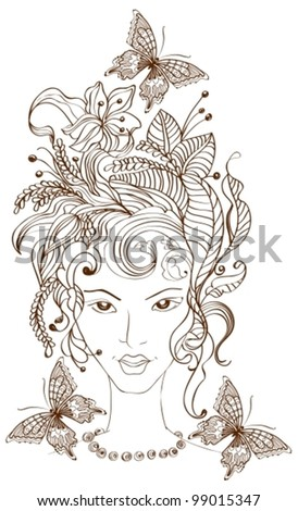 Hand Drawn Beautiful woman with flowers in hair and butterflies, beautiful vector illustration - stock vector