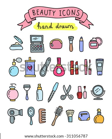 Hand drawn beauty icons: beauty salon, cosmetic, makeup, manicure - stock vector