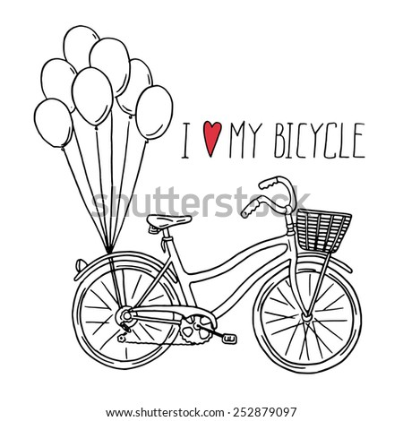 Hand drawn bicycle with balloons illustration. - stock vector
