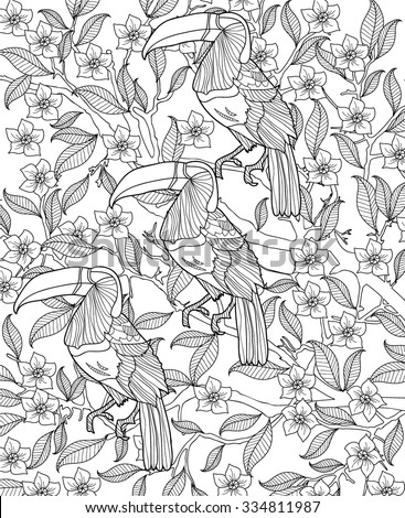 hand drawn bird coloring page - stock vector
