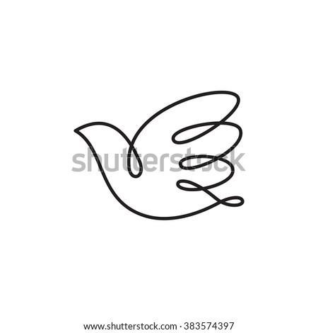 Hand drawn bird icon. - stock vector