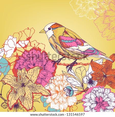 Hand drawn bird in the garden - stock vector