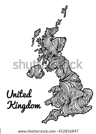 Hand-drawn black an white doodle map of United Kingdom of Great Britain and Northern Ireland. Geography and english tourism zentangle illustration of England, Scotland and Wales in sketch art style. - stock vector