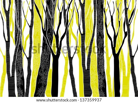Hand Drawn Black and Green Deep Forest - vector illustration - stock vector
