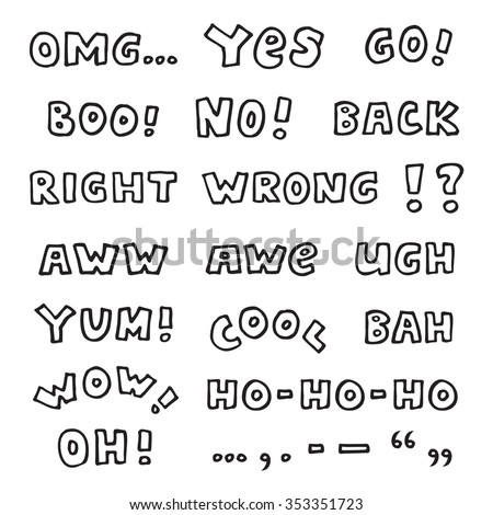 Hand-drawn black and white interjections isolated on white background - cool vector exclamations set with some punctuation marks - stock vector