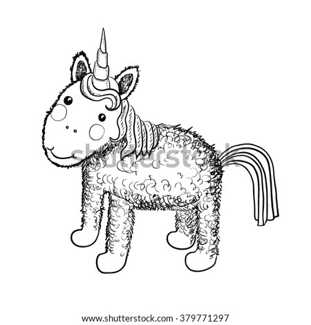 Hand drawn black and white isolated cartoon pretty unicorn - stock vector