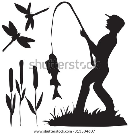 Hand drawn black and white silhouette a fisherman with a fish and dragon fly and reeds. - stock vector