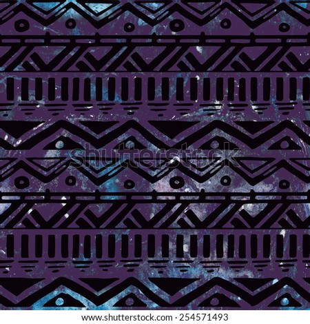 Hand Drawn Black Aztec Tribal Seamless Background Pattern on seamless Watercolor Cosmic Background - stock vector