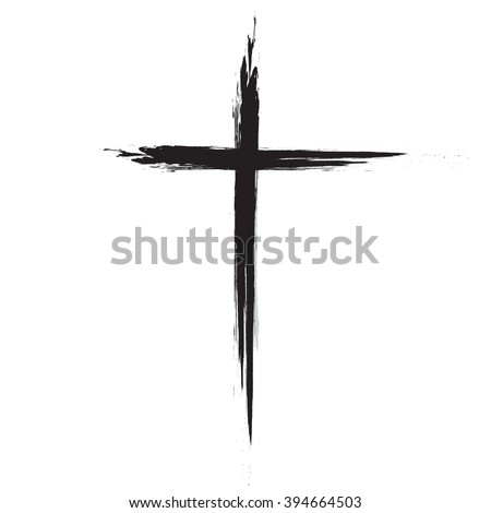 Hand drawn black grunge cross icon, simple Christian cross sign, hand-painted cross   - stock vector